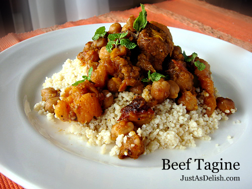 Beef Tagine with Couscous (Moroccan) JustAsDelish.com