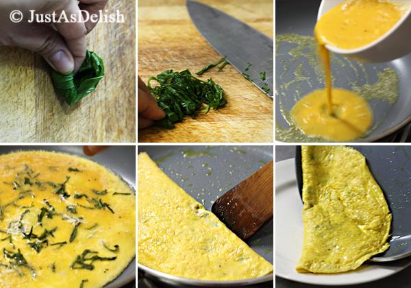 Basil Omelette Steps
