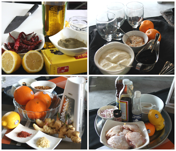 The ingredients for the Asian inspired recipes with citrus