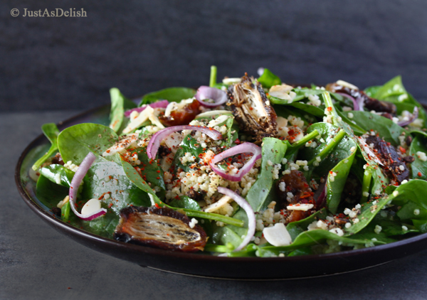 Baby Spinach Salad with Dates & Almond | JustAsDelish