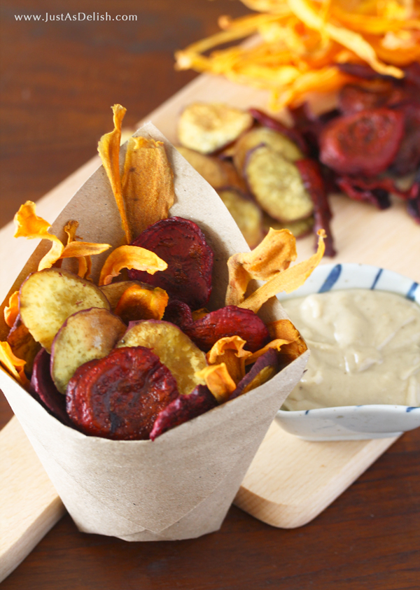 Vegetable Chips with Tahini Dip