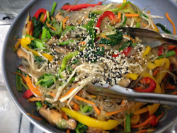 Korean Vegetable Japchae (Stir Fry Vermicelli)