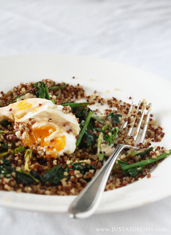 Spiced Quinoa, Spinach & Poached Egg with Tahini Sauce