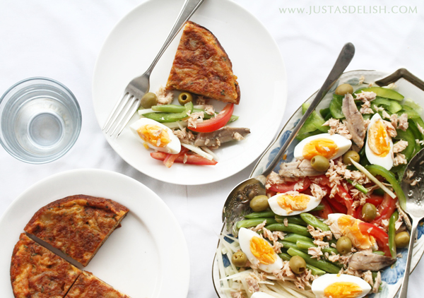 Tortilla De Patatas with Nicoise Style Salad