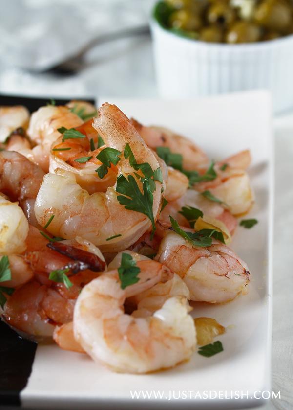 Spanish Garlic Shrimp & Catalan Style Spinach | JustAsDelish.com