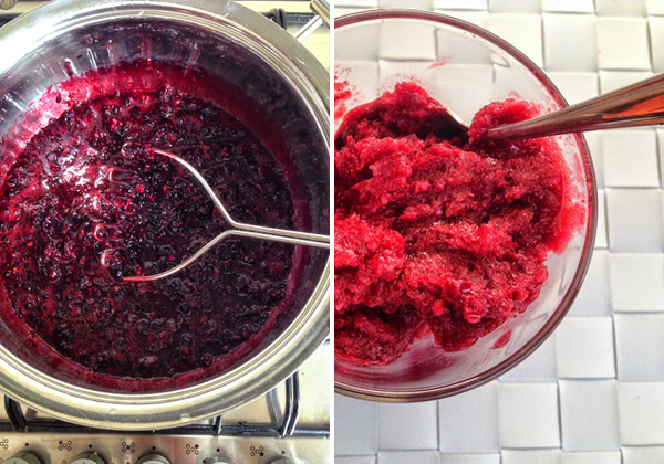 Making blackberry granita