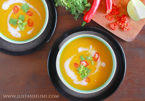 Spicy Pumpkin Soup, with rich asian flavours