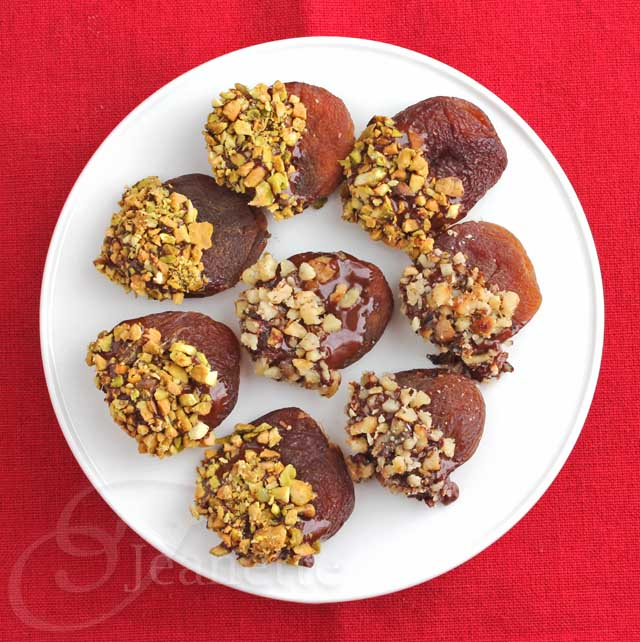 Chocolate Dipped Dried Apricots with Toasted Nuts | Jeanette Healthy Living