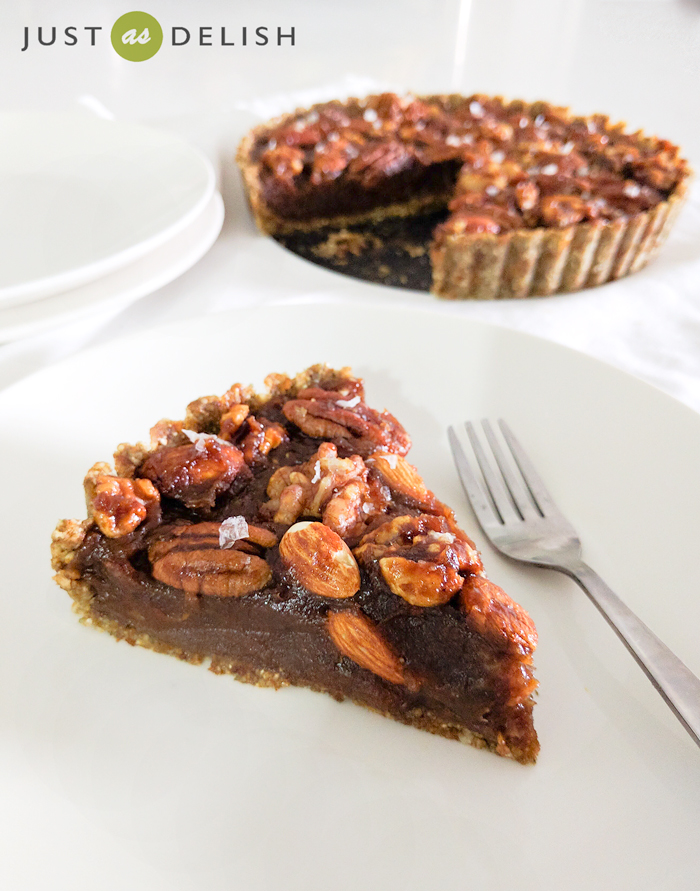 Raw Salted Caramel Nut Tart | JustAsDelish.com