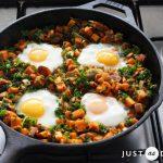 1-Pan Sweet Potato Hash with Poached Eggs