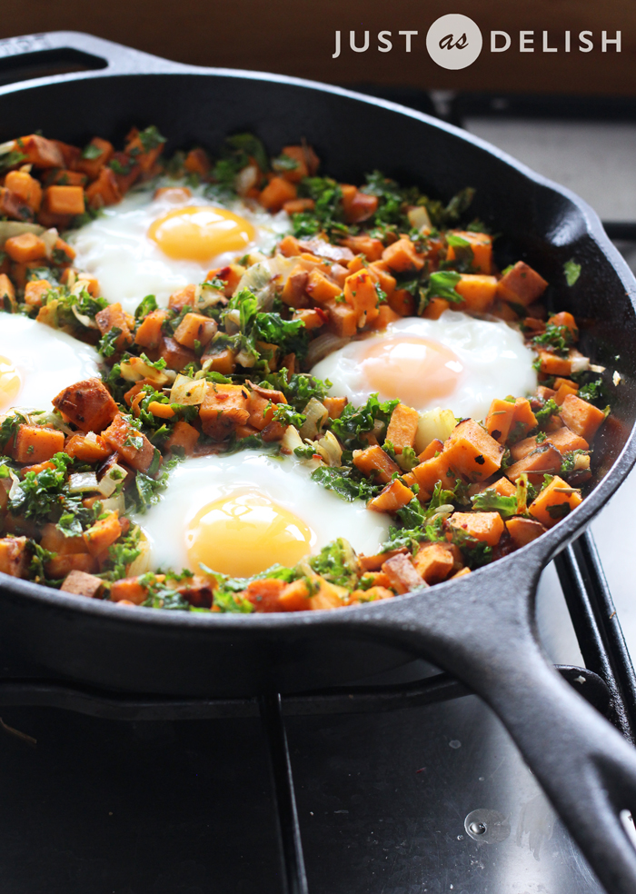 1-Pan Sweet Potato Hash with Poached Eggs | JustAsDelish.com
