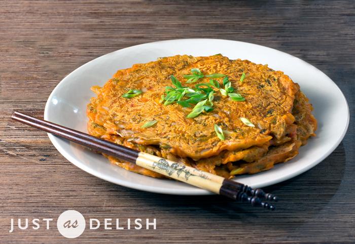 Kimchi Pancake (Kimchijeon) | Justasdelish.com