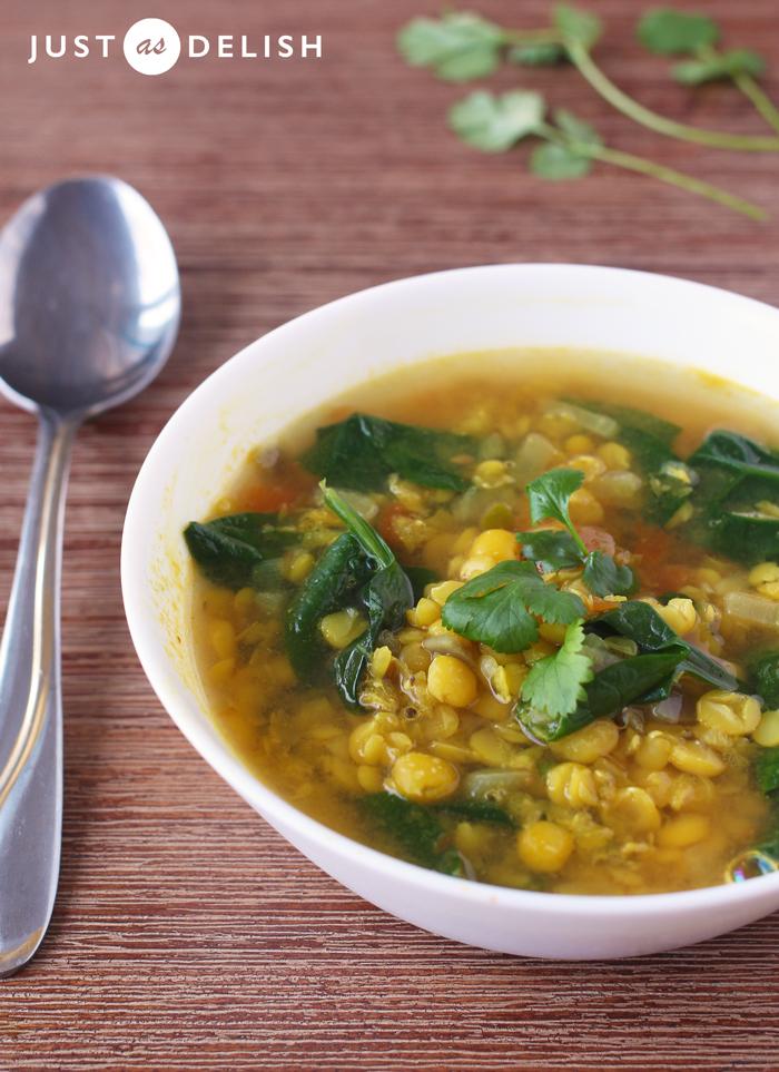 Ayurvedic Tomato Spinach Dal Soup | JustAsDelish